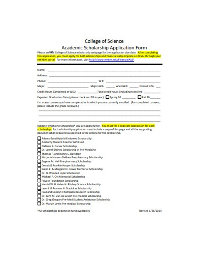 basic academic scholarship application form