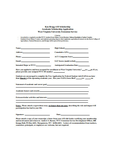 basic academic scholarship application format