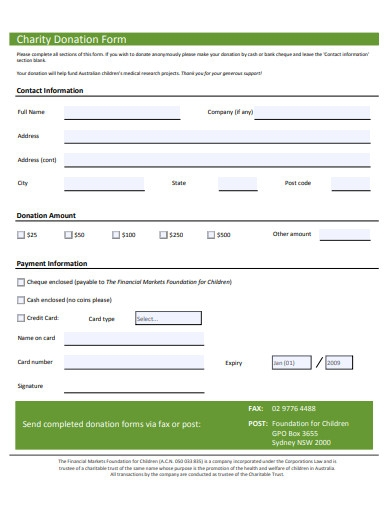 basic charity donation form