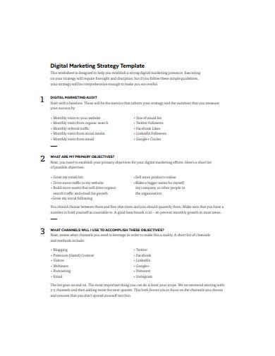 basic digital marketing strategy example