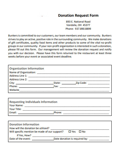 basic donation request form