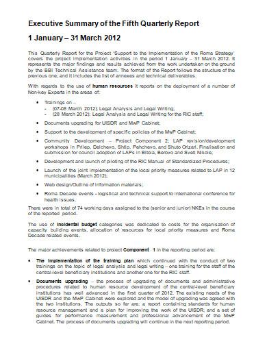 basic executive summary report