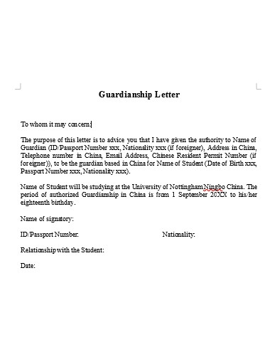 basic guardianship letter