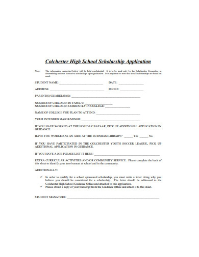 basic high school scholarship application example