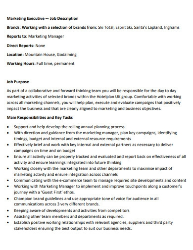 basic marketing executive job description