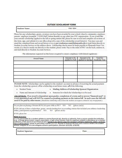 basic outside scholarship form