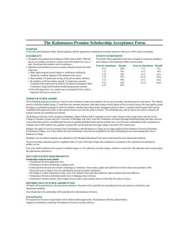 basic scholarship acceptance form example