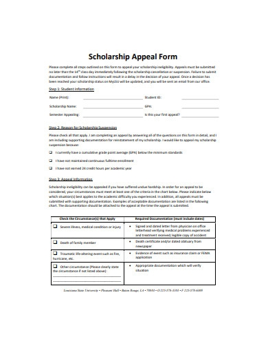 basic scholarship appeal form
