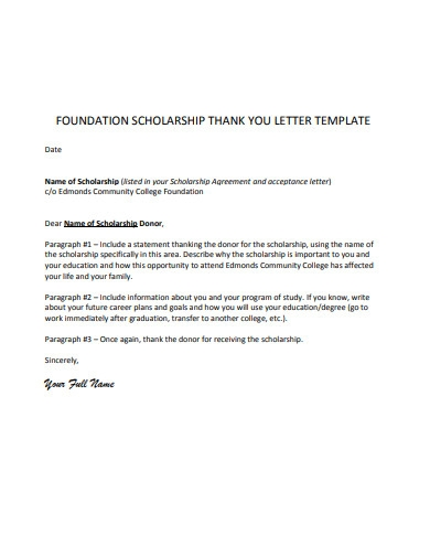 basic scholarship donor thank you letter