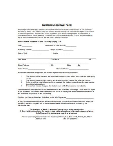 basic scholarship renewal form