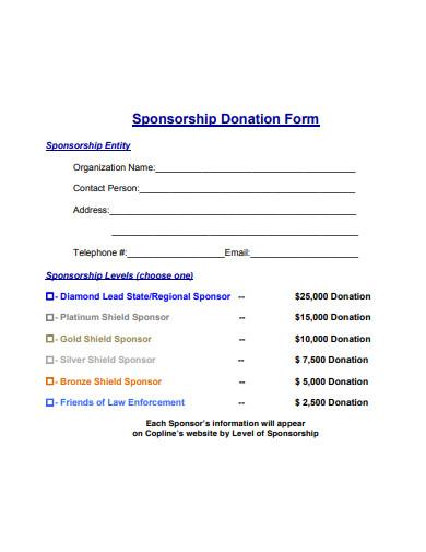 basic sponsorship donation form