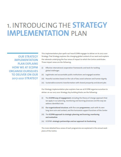 basic strategy implementation plan