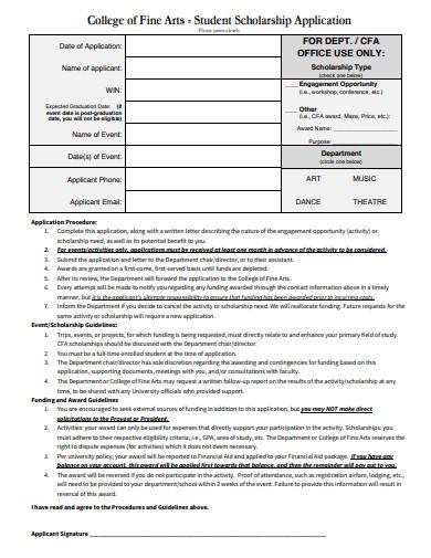 basic student scholarship application