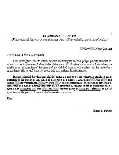 basic temporary guardianship letter