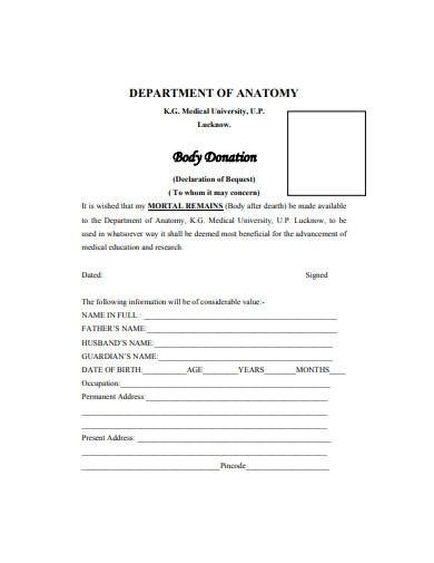 body donation form