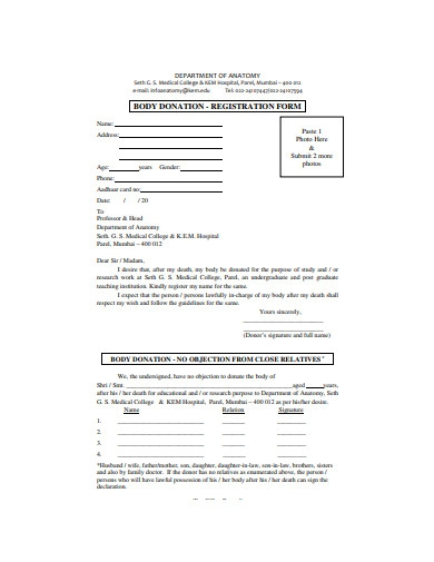 body donation registration form