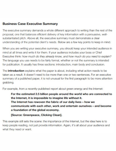 business case executive summary in pdf