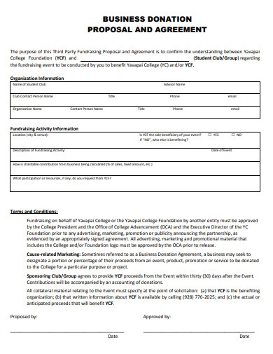 business donation proposal and agreement