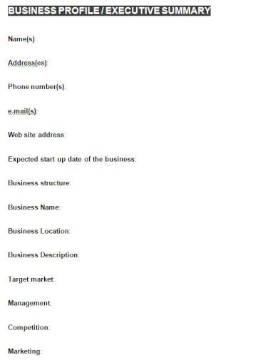 business profile executive summary