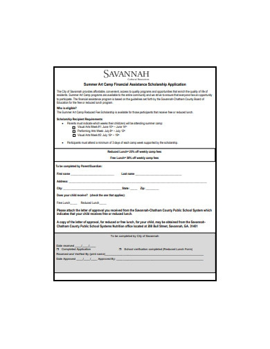 camp financial assistance scholarship application