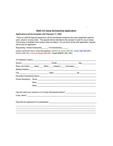 camp scholarship application example