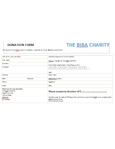 charitable donation form example