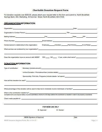 charitable donation request form