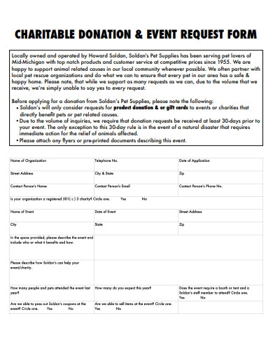 charitable donation and event request form form