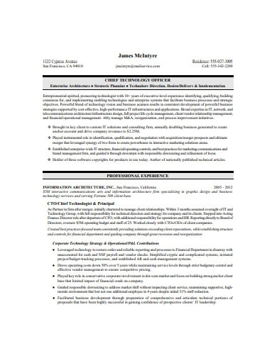 chief technology officer executive resume