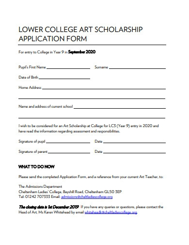 college art scholarship application form