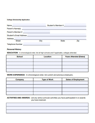 college scholarship application example