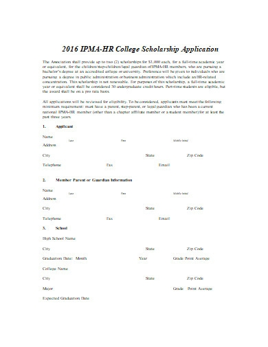 college scholarship application in doc