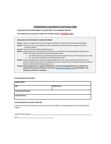 commitment scholarship acceptance form