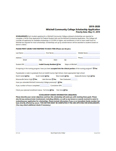 community college scholarship application