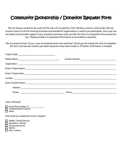 community sponsorship donation form