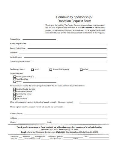 community sponsorship donation request form