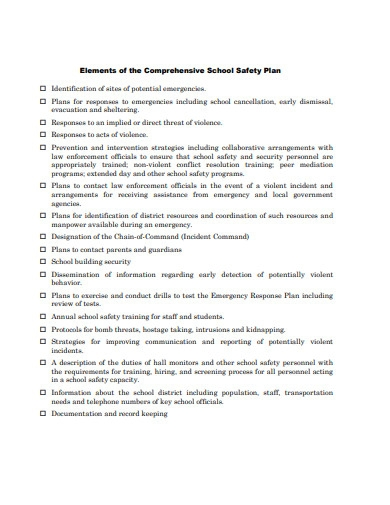 comprehensive school safety plan sample