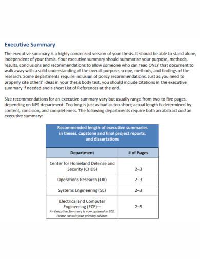condensed executive summary