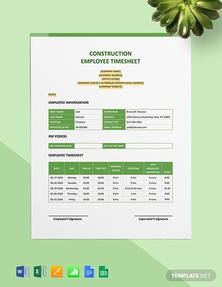 construction employee timesheet template