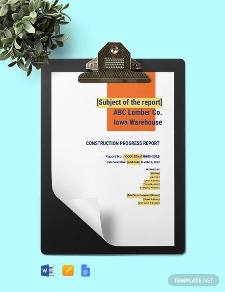 construction progress report template