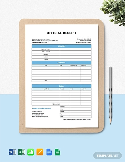 construction services receipt template