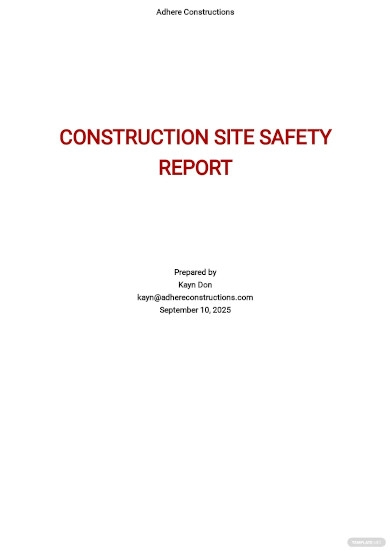 construction site safety report template