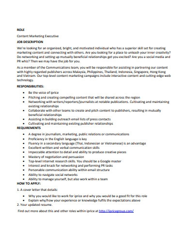 content marketing executive job description