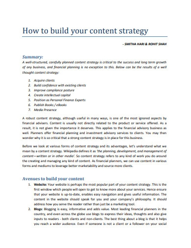 content strategy plan example