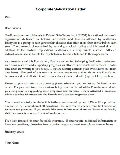 corporate donation solicitation letter