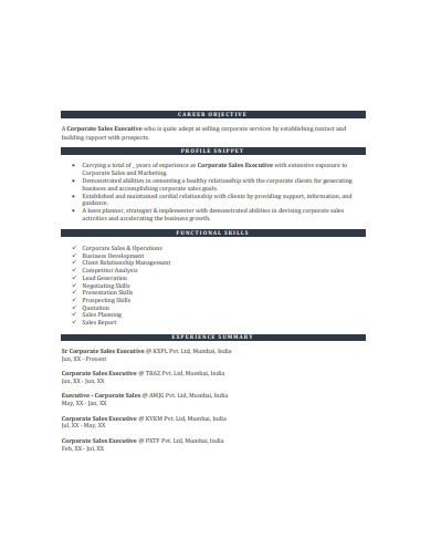 corporate sales executive resume sample