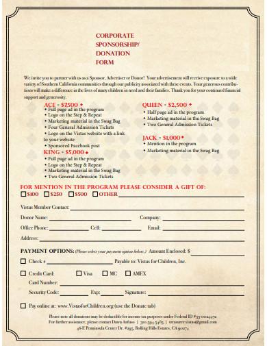 corporate sponsorship donation form