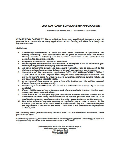day camp scholarship application