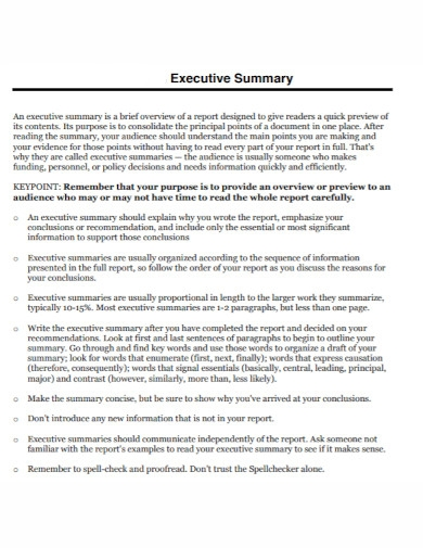 designed executive summary