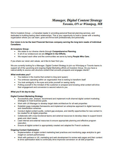 digital content strategy plan sample